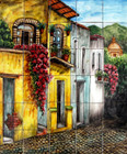 colonial houses patio tile mural