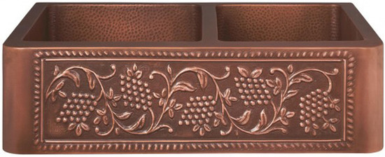 custom made copper kitchen apron sink