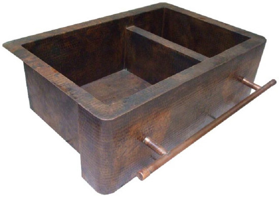 copper kitchen sink with apron