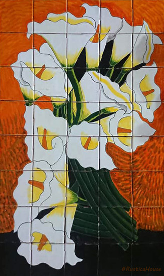 Bouquet of calla lilies beautiful tile mural