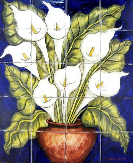 tile mural vase of calla lilies