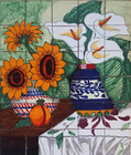 tile mural vases
