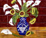 tile mural sunflowers and calla lilies