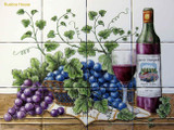 tile mural  wine and grapes