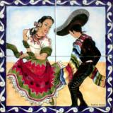 tile mural mexican dance