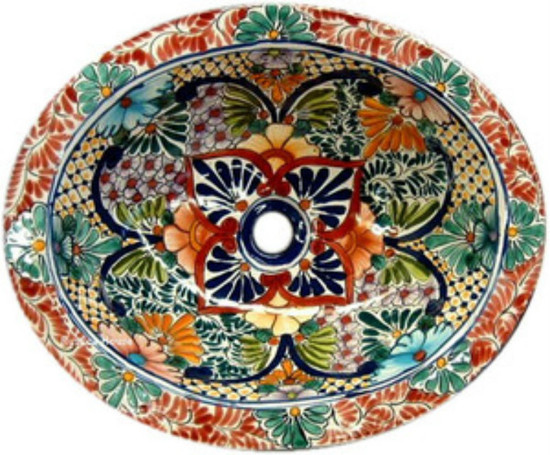 Hand painted mexican bathroom sink