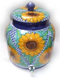 talavera yellow sunflower water crock