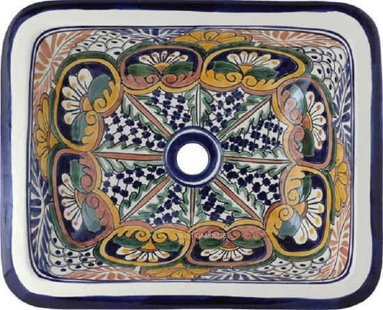 rectangular talavera sink hand crafted