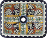 rectangular artistic talavera bathroom sink