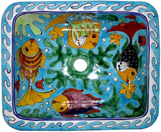 rectangular talavera bathroom sink with fish pattern