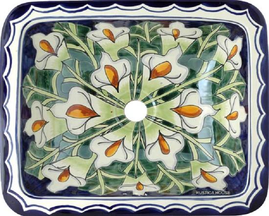 rectangular talavera sink calla lily