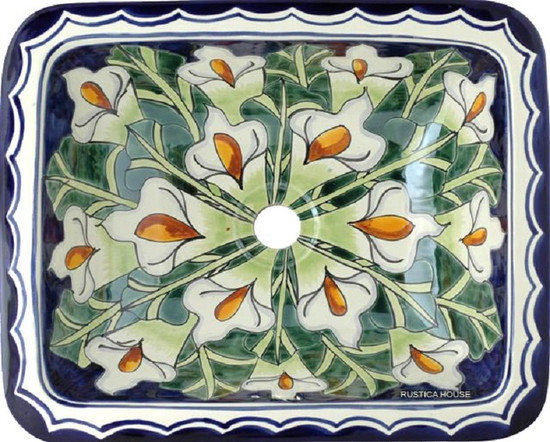 rectangular talavera bathroom sink calla lily