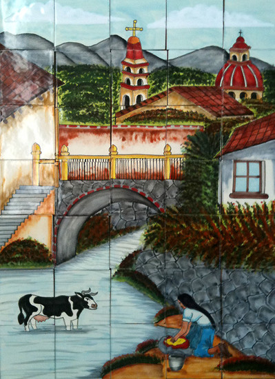 River through the village  kitchen tile mural