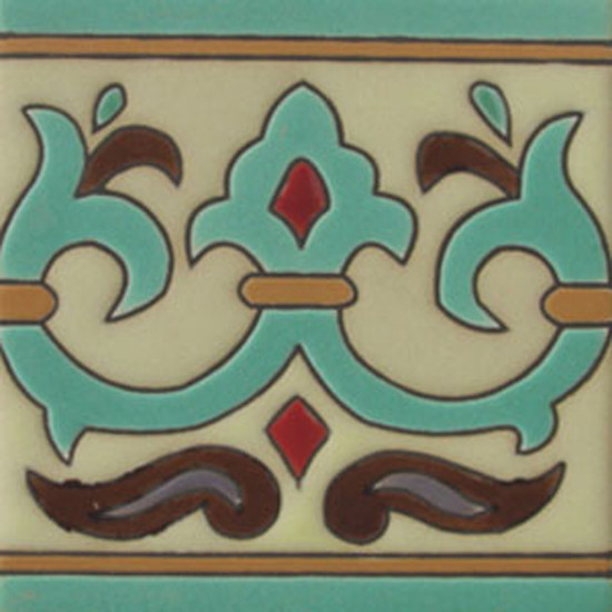 french relief tile light green