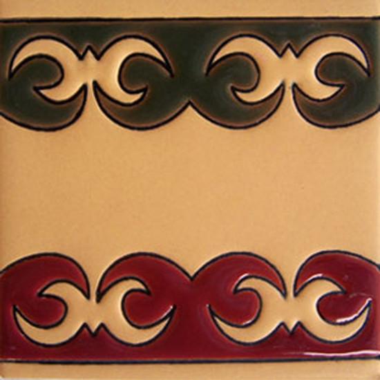 rustic relief tile green