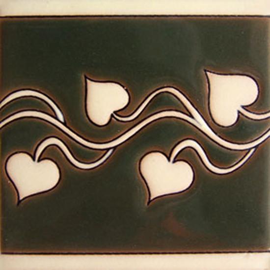 mexican relief tile dark green