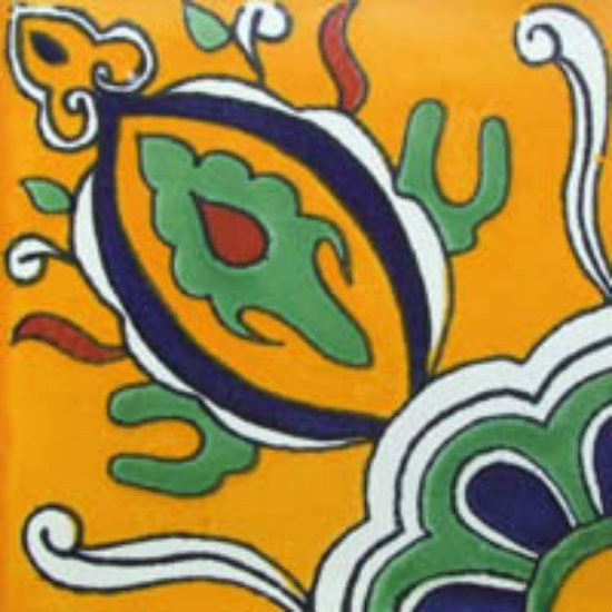 painted Mexican tile green white