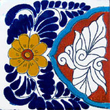 talavera tile blue terra cotta