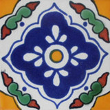 hand made Mexican tile blue yellow