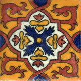 hand decorated Mexican tile terracotta white