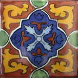 Mexican tile blue yellow terracotta
