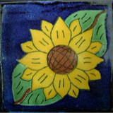 hand painted Mexican tile yellow green