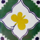 hand decorated Mexican tile yellow green