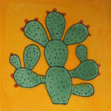 hand painted Mexican tile green black
