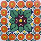 painted Mexican tile green terracotta