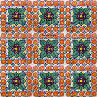 painted Mexican tiles green terracotta