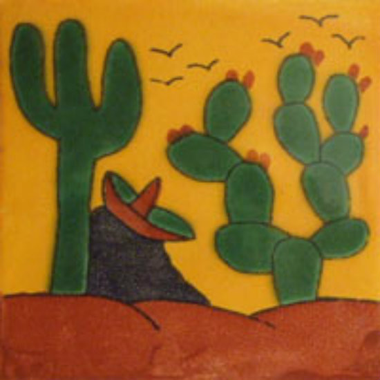 artisan crafted Mexican tile green yellow