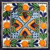 Mexican tile blue yellow green