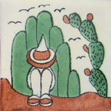 rustic Mexican tile terracotta green