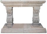 spanish stone fireplace