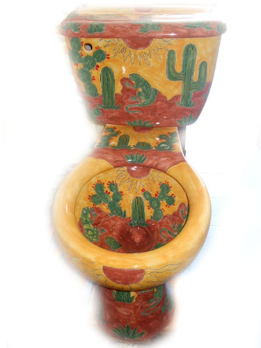 mexican hand painted toilet