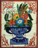 flowers and butterflies garden tile mural
