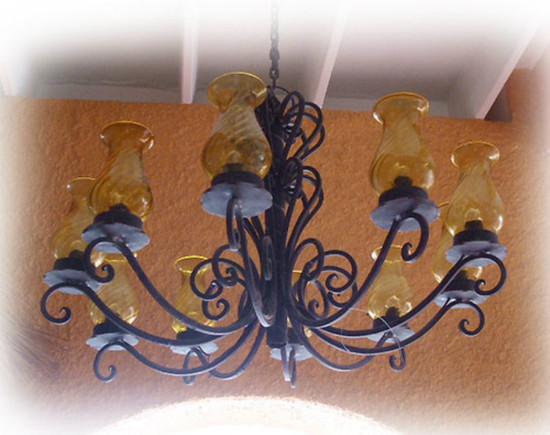 artisan made iron chandelier