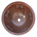 round rustic copper bath sink