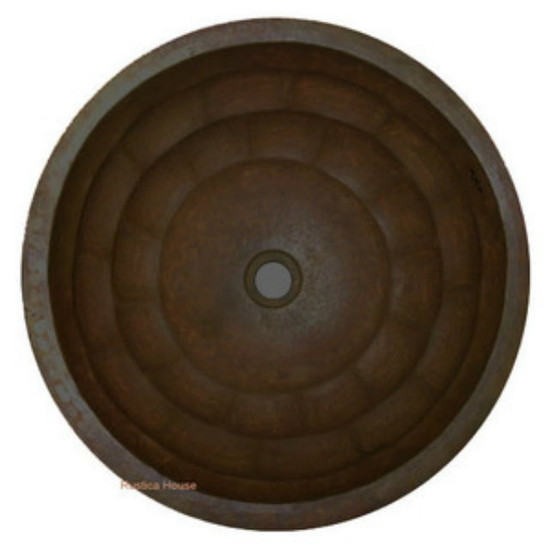 round punched copper bath sink
