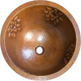 round hand hammered copper bath sink
