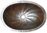 oval hand hammered copper bath sink