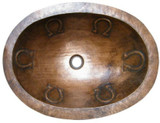 oval punched copper bath sink