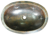 oval rustic copper bathroom sink