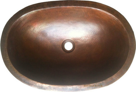 oval artisan made copper bathroom sink