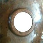 retro copper bathroom sink back view