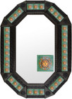 octagonal metal tin frame decorated with mexican handmade^ tile