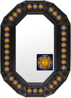 Metal mirror old world octagonal frame with tiles