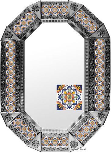 metal tin mirror tile hand made