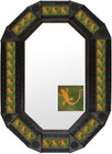 Metal mirror traditional octagonal frame with tiles.