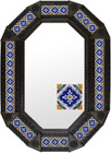 Metal mirror mexican octagonal frame with tiles